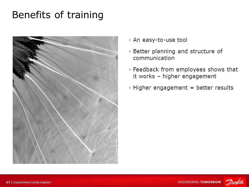 Benefits of training An easy-to-use tool