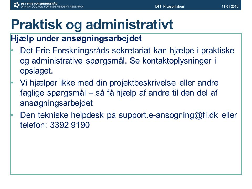 Praktisk og administrativt