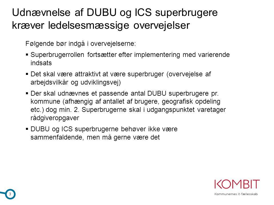 Udnævnelse af DUBU og ICS superbrugere kræver ledelsesmæssige overvejelser