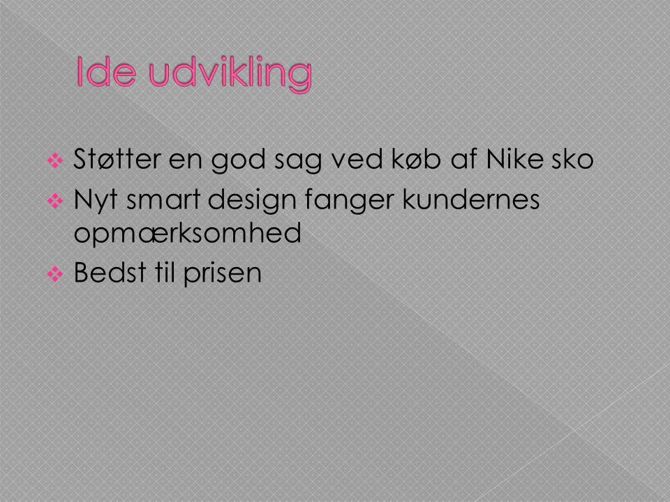 Ide udvikling Støtter en god sag ved køb af Nike sko