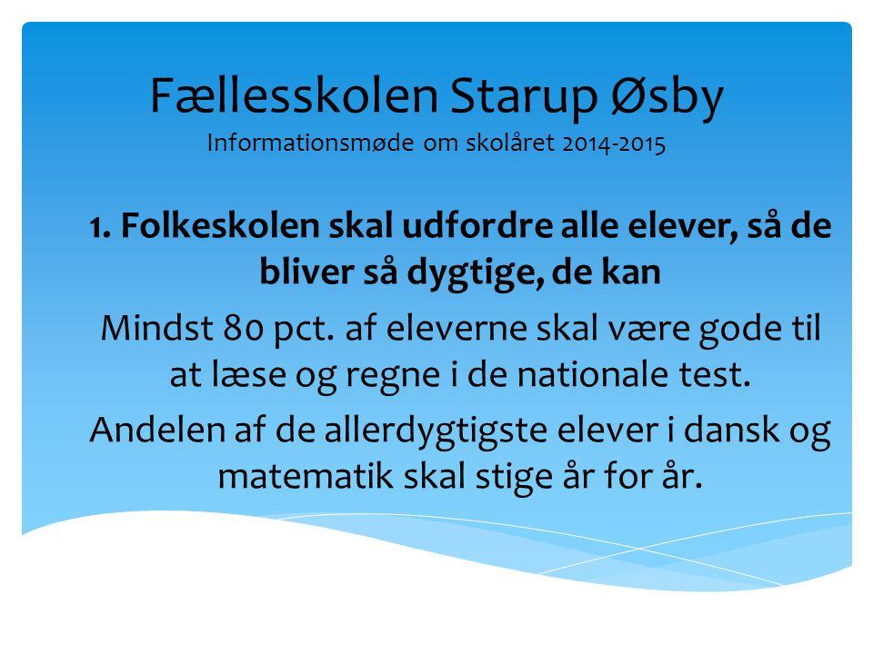 Fællesskolen Starup Øsby Informationsmøde om skolåret 2014-2015