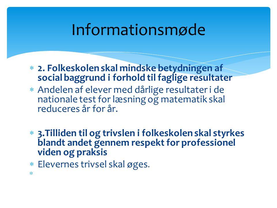 Informationsmøde 2. Folkeskolen skal mindske betydningen af social baggrund i forhold til faglige resultater.