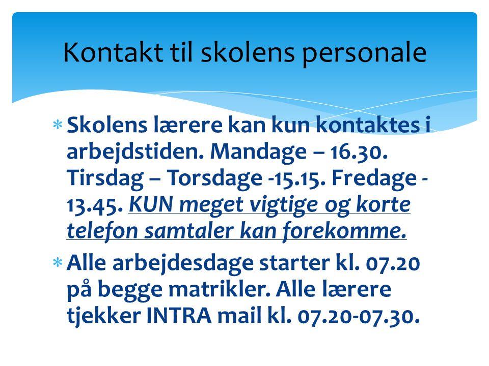Kontakt til skolens personale