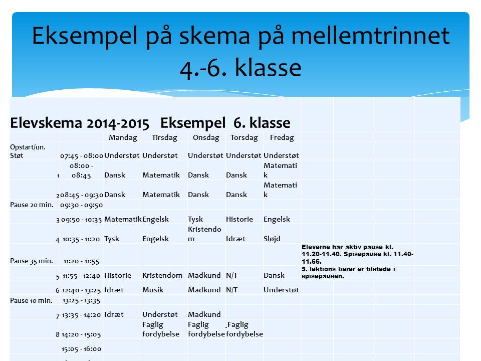 Eksempel på skema på mellemtrinnet 4.-6. klasse