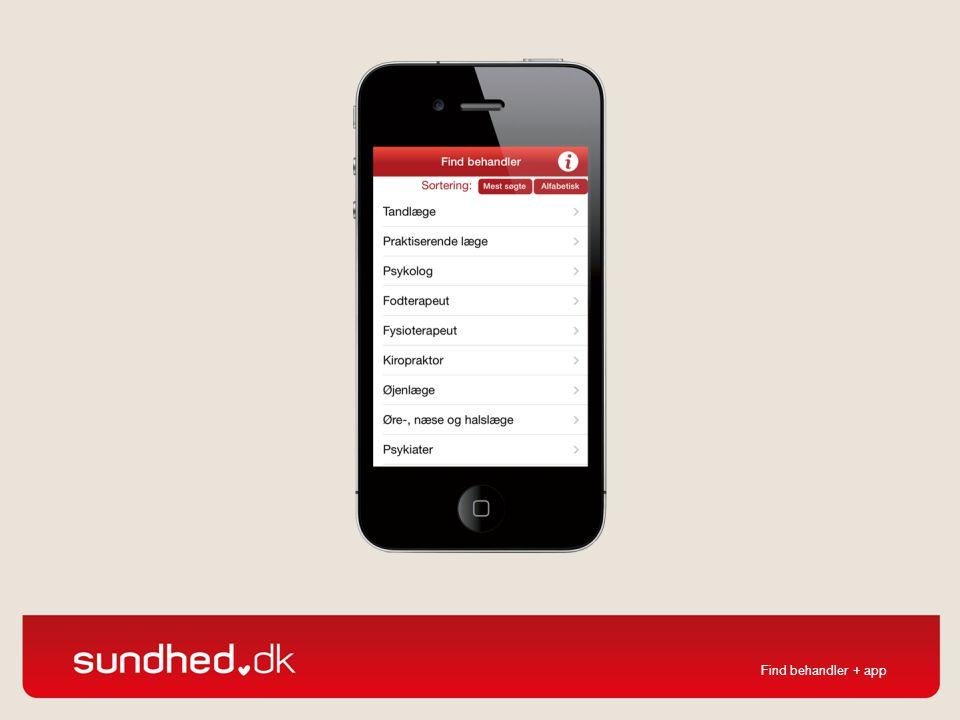 Også find behandler findes som app til smartphones.
