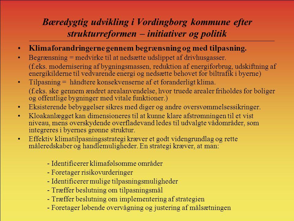 Bæredygtig udvikling i Vordingborg kommune efter strukturreformen – initiativer og politik