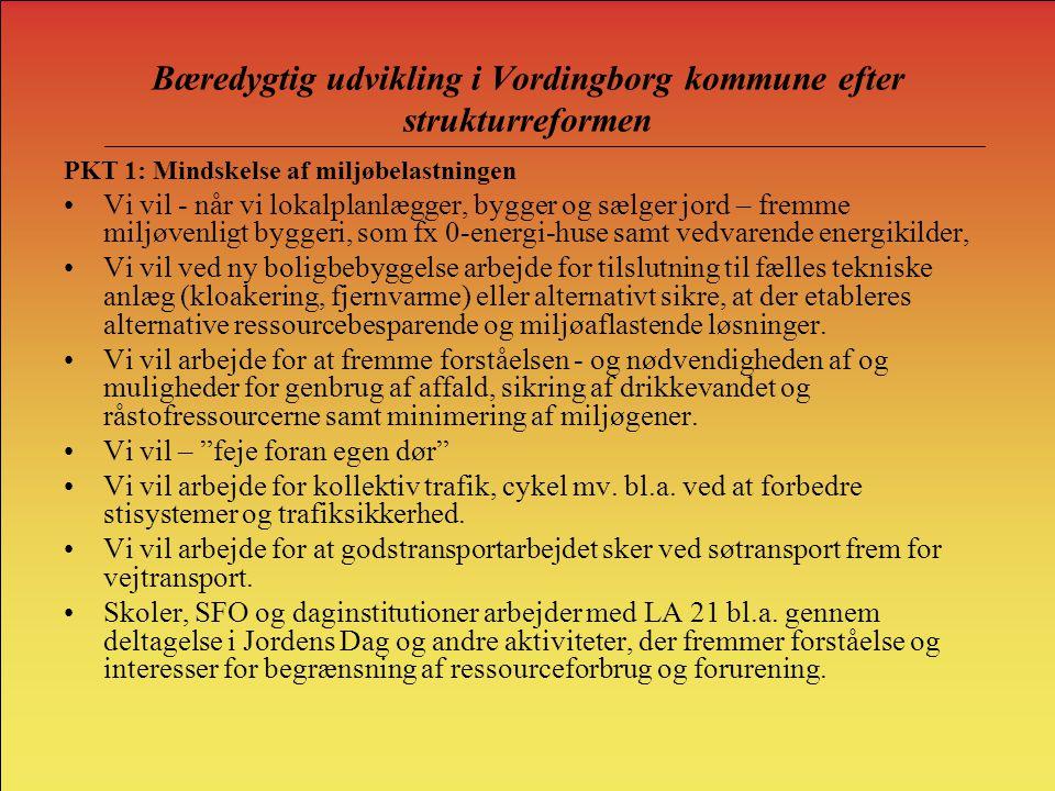 Bæredygtig udvikling i Vordingborg kommune efter strukturreformen