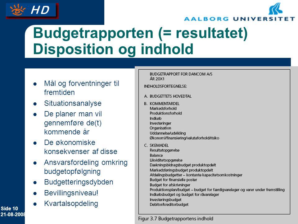 Budgetrapporten (= resultatet) Disposition og indhold