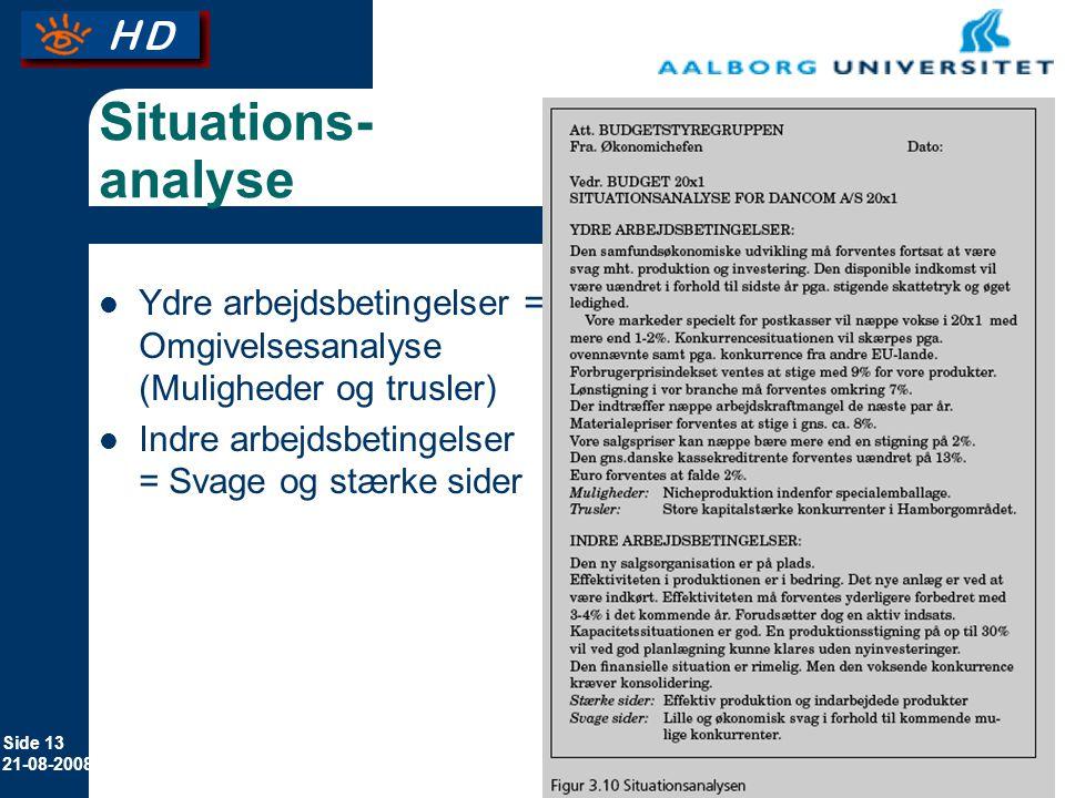 Situations-analyse Ydre arbejdsbetingelser = Omgivelsesanalyse (Muligheder og trusler) Indre arbejdsbetingelser = Svage og stærke sider.