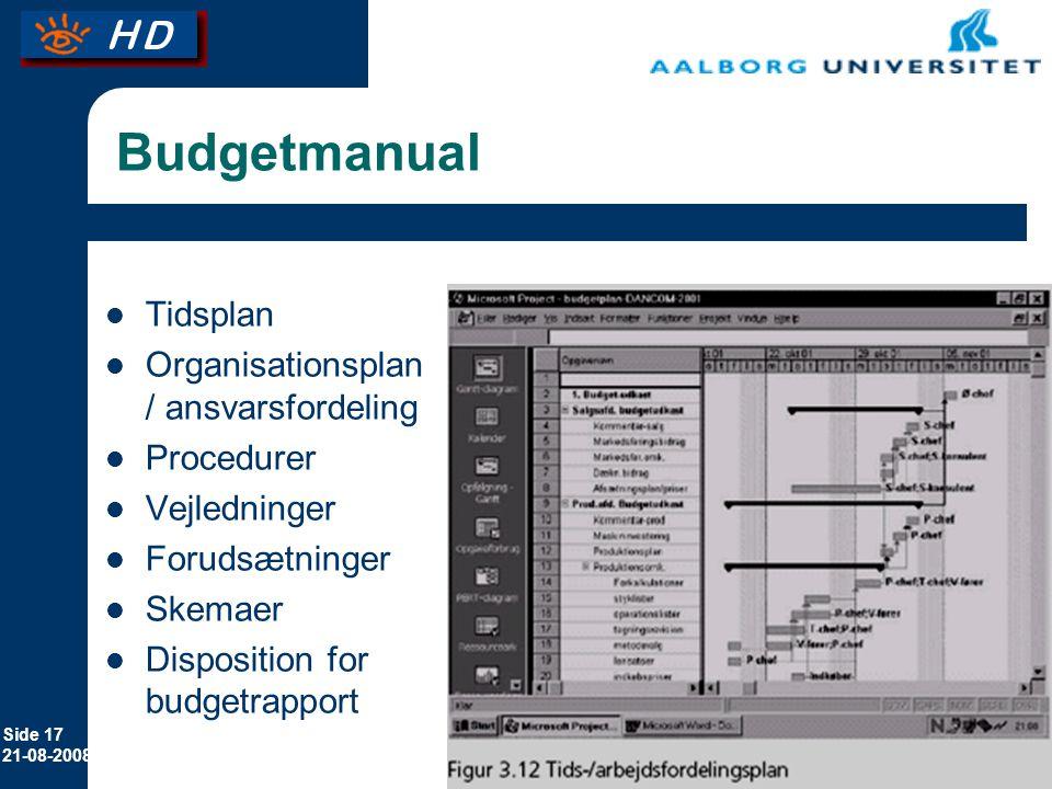 Budgetmanual Tidsplan Organisationsplan / ansvarsfordeling Procedurer