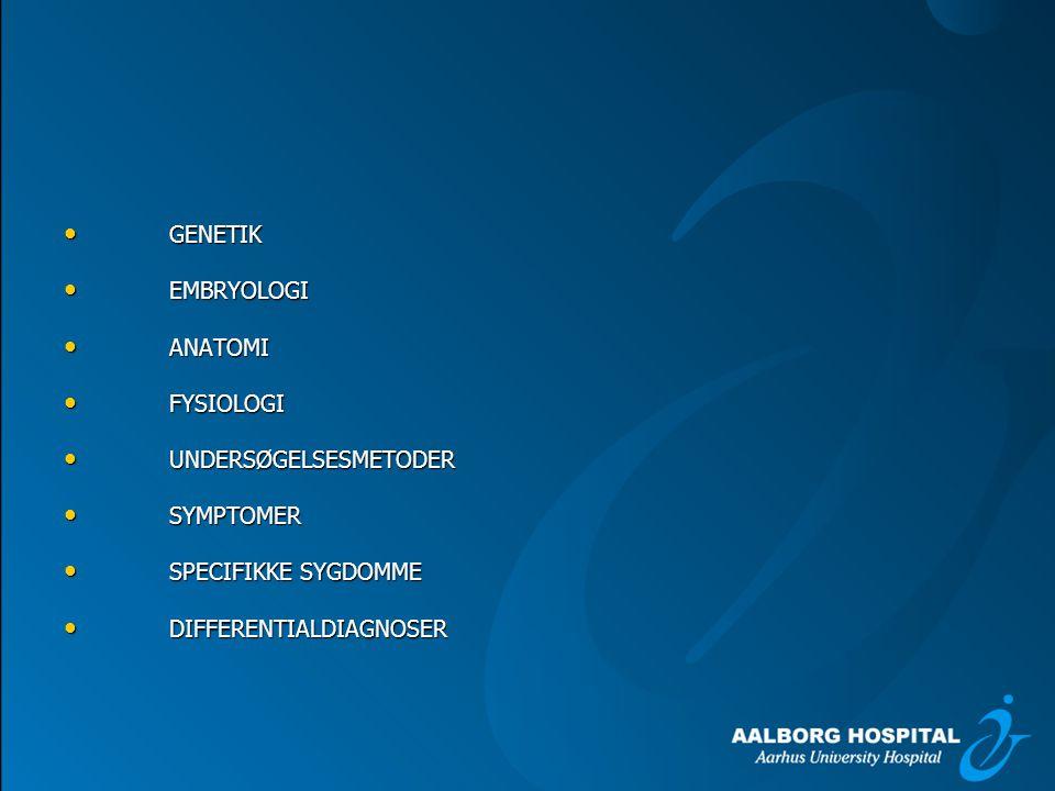 GENETIK EMBRYOLOGI. ANATOMI. FYSIOLOGI. UNDERSØGELSESMETODER.