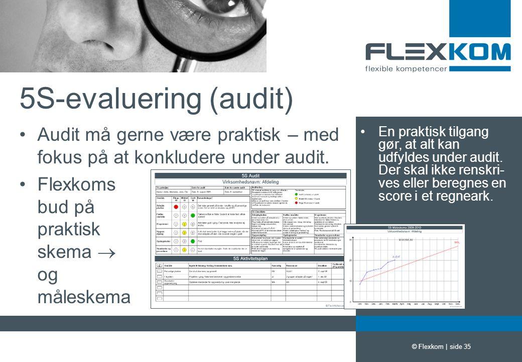 5S-evaluering (audit) Audit må gerne være praktisk – med fokus på at konkludere under audit. Flexkoms bud på praktisk skema  og måleskema.
