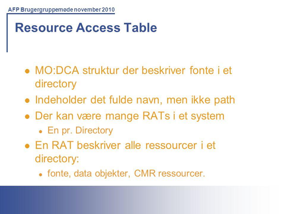 Resource Access Table MO:DCA struktur der beskriver fonte i et directory. Indeholder det fulde navn, men ikke path.