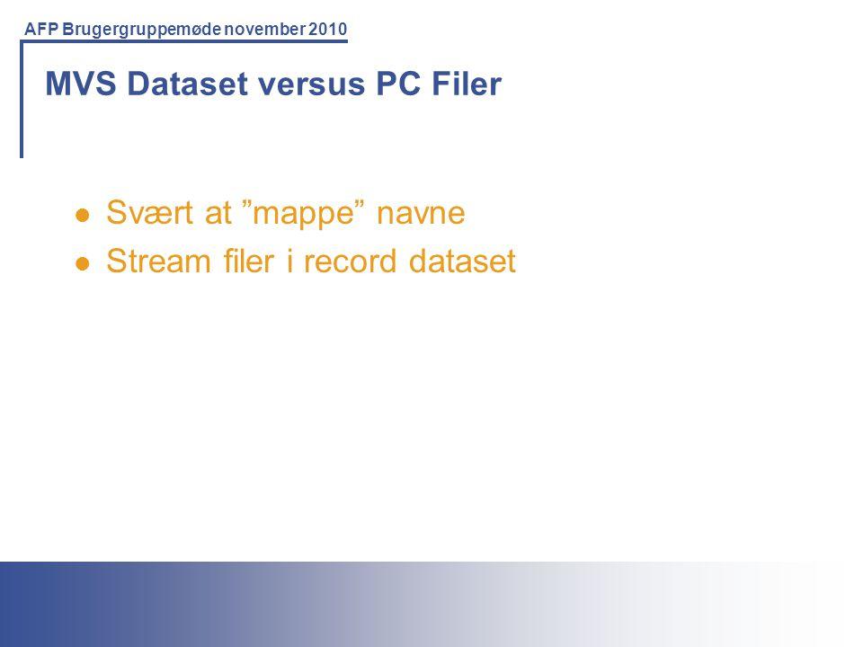 MVS Dataset versus PC Filer