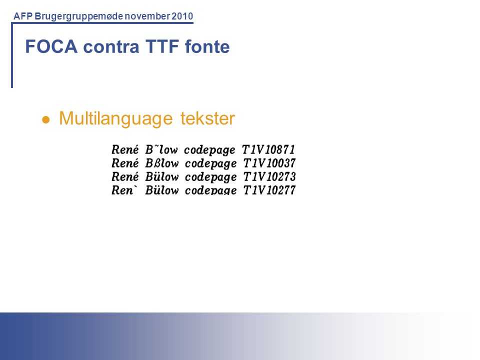 FOCA contra TTF fonte Multilanguage tekster