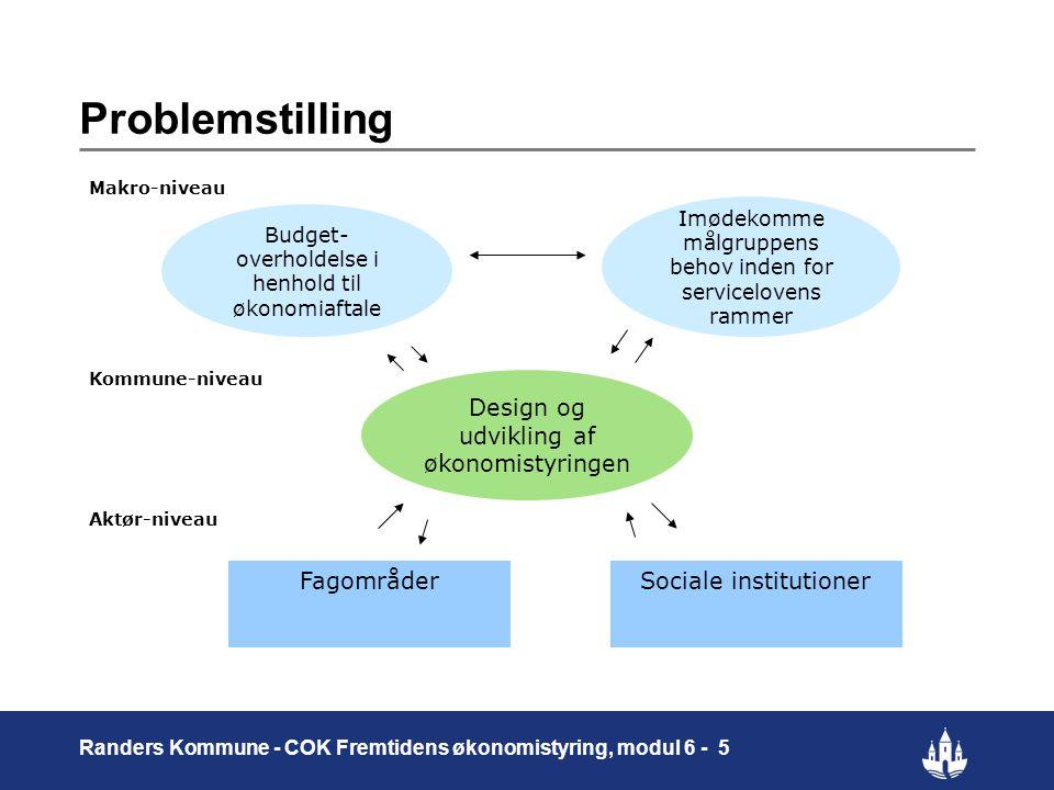 Problemstilling Design og udvikling af økonomistyringen Fagområder
