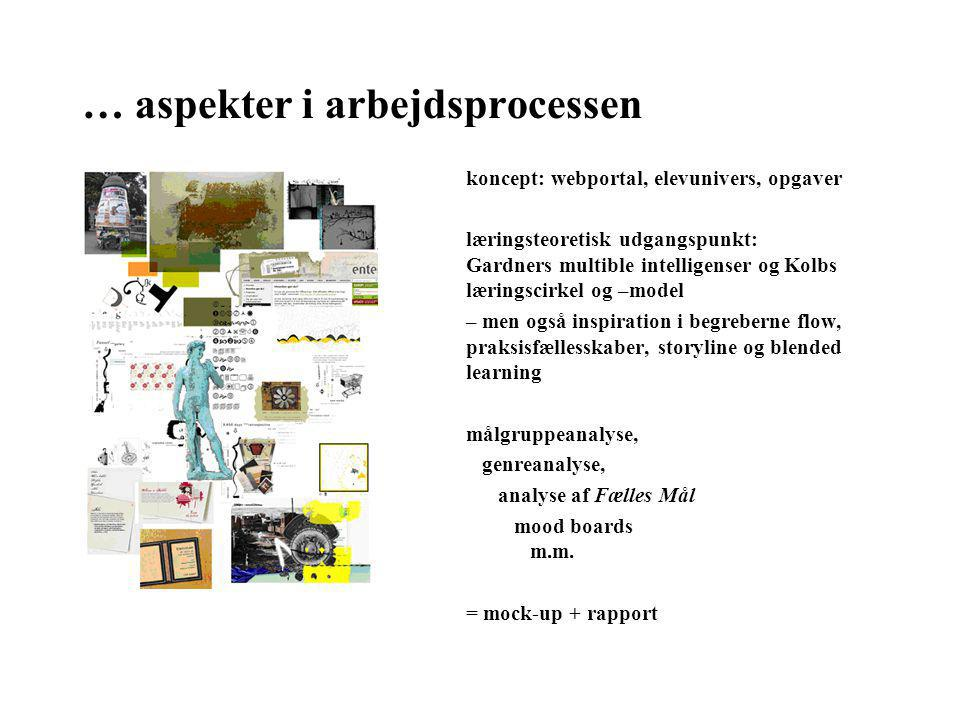 … aspekter i arbejdsprocessen