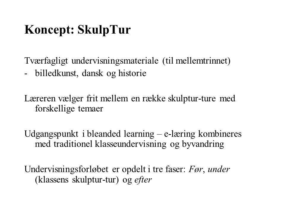 Koncept: SkulpTur Tværfagligt undervisningsmateriale (til mellemtrinnet) billedkunst, dansk og historie.