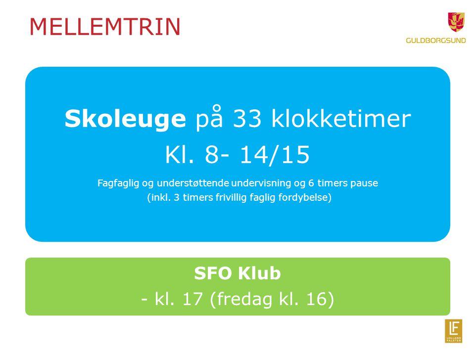 Skoleuge på 33 klokketimer Kl. 8- 14/15