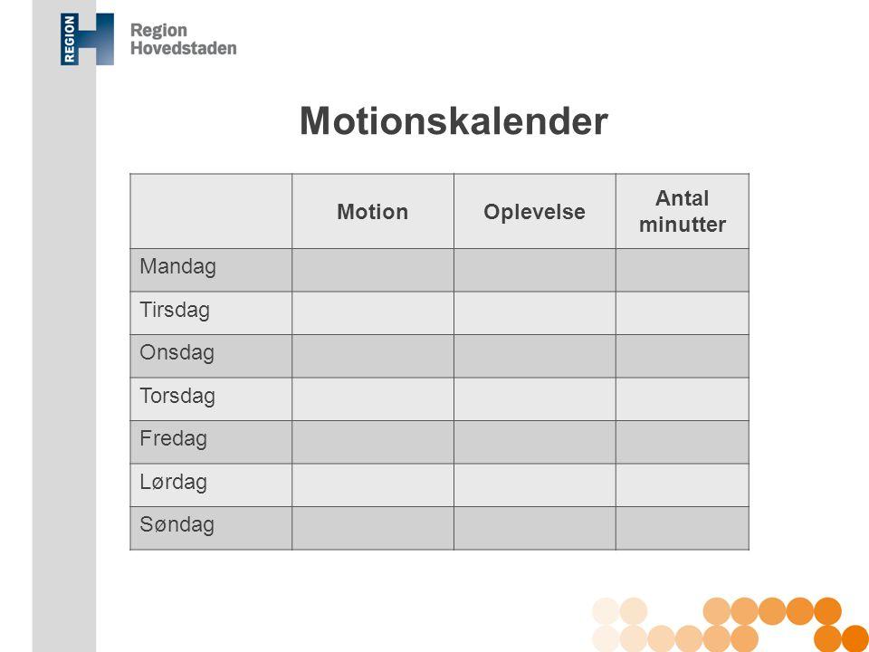 Motionskalender Motion Oplevelse Antal minutter Mandag Tirsdag Onsdag