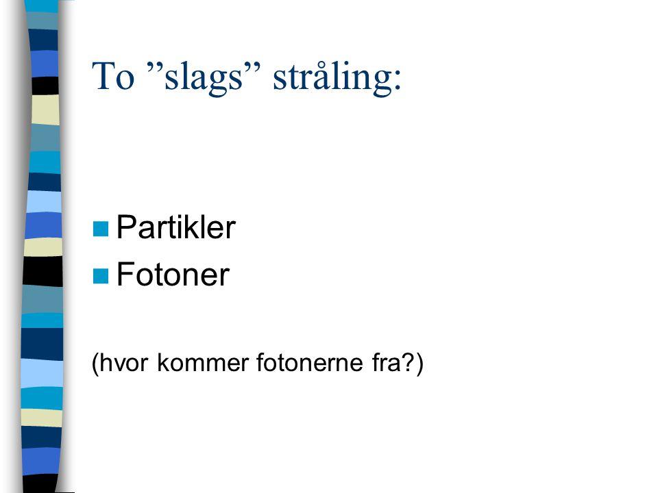 To slags stråling: Partikler Fotoner (hvor kommer fotonerne fra )