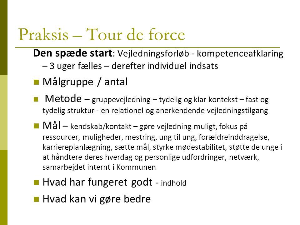 Praksis – Tour de force Den spæde start: Vejledningsforløb - kompetenceafklaring – 3 uger fælles – derefter individuel indsats.