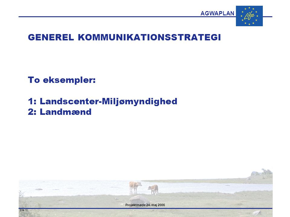 GENEREL KOMMUNIKATIONSSTRATEGI To eksempler: 1: Landscenter-Miljømyndighed 2: Landmænd