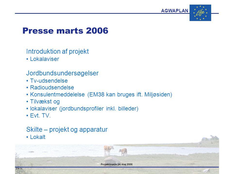 Presse marts 2006 Introduktion af projekt Jordbundsundersøgelser