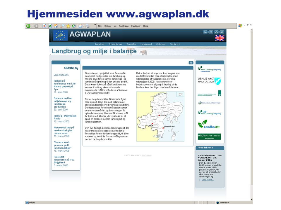 Hjemmesiden www.agwaplan.dk