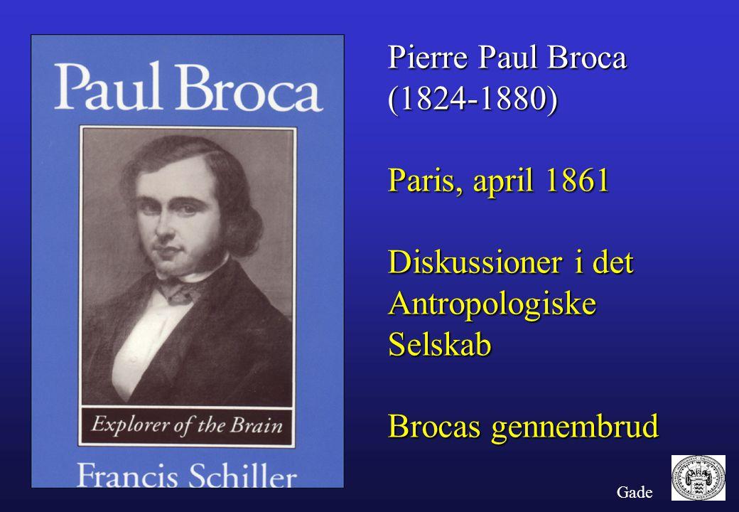 Pierre Paul Broca (1824-1880) Paris, april 1861 Diskussioner i det
