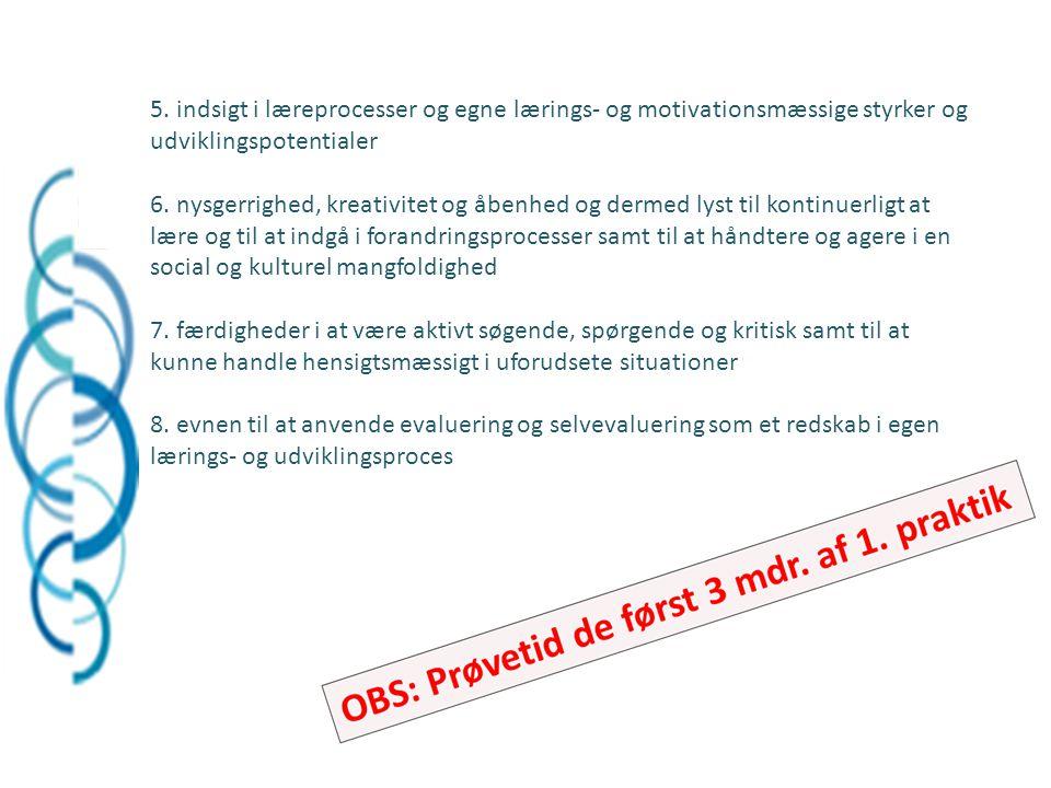 5. indsigt i læreprocesser og egne lærings- og motivationsmæssige styrker og udviklingspotentialer