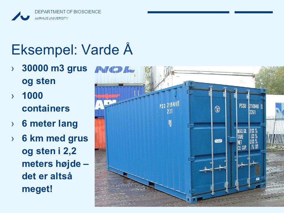 Eksempel: Varde Å 30000 m3 grus og sten 1000 containers 6 meter lang