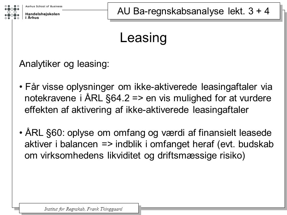 Leasing Analytiker og leasing: