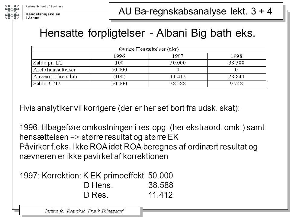 Hensatte forpligtelser - Albani Big bath eks.