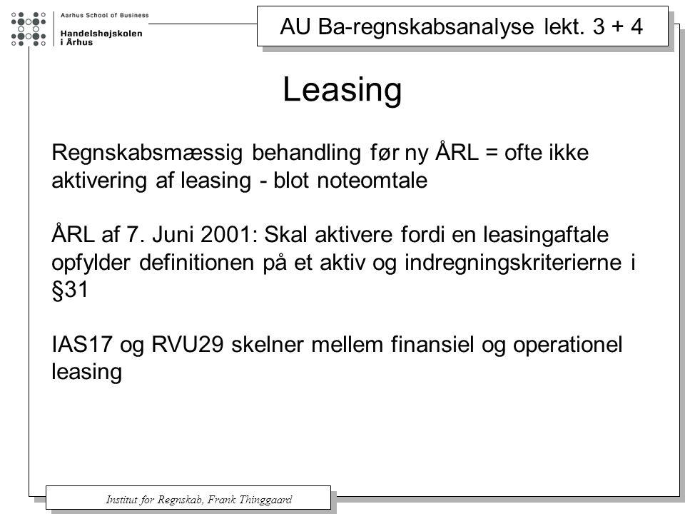 Leasing Regnskabsmæssig behandling før ny ÅRL = ofte ikke