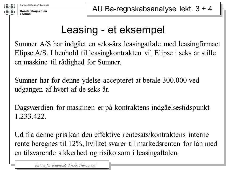 Leasing - et eksempel Sumner A/S har indgået en seks-års leasingaftale med leasingfirmaet.