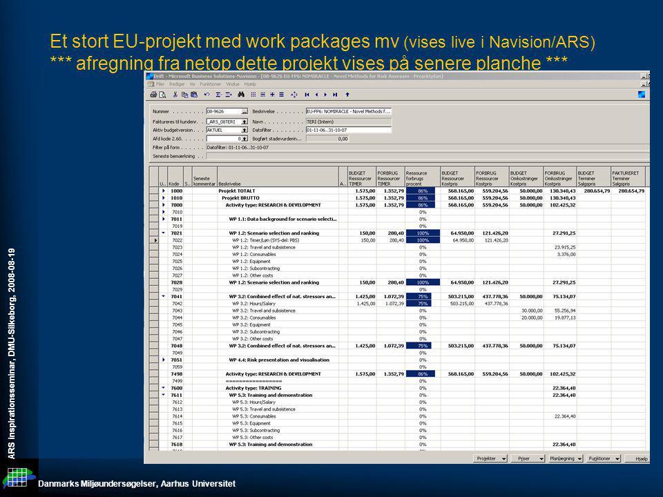 Et stort EU-projekt med work packages mv (vises live i Navision/ARS)