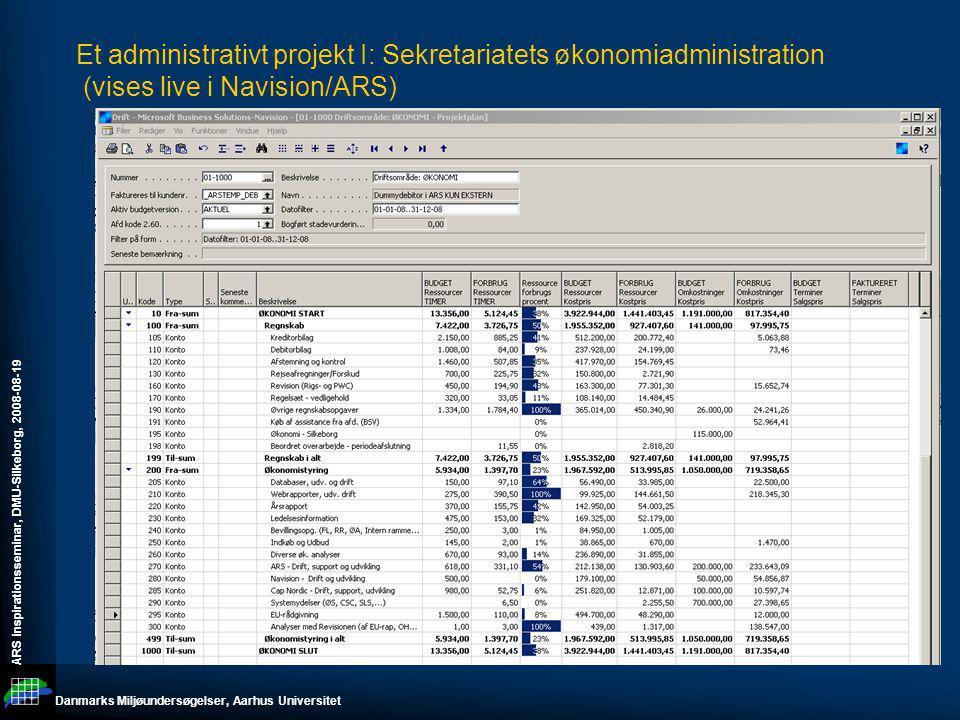 Et administrativt projekt I: Sekretariatets økonomiadministration (vises live i Navision/ARS)