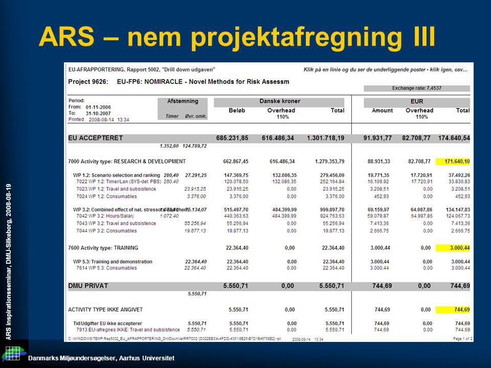 ARS – nem projektafregning III
