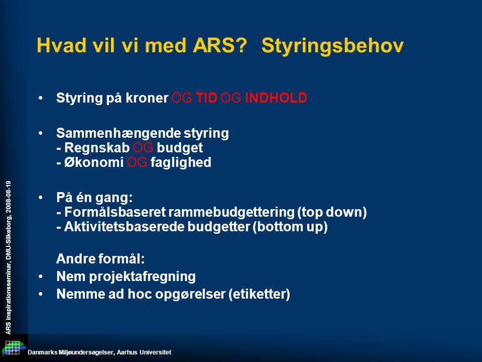 Hvad vil vi med ARS Styringsbehov