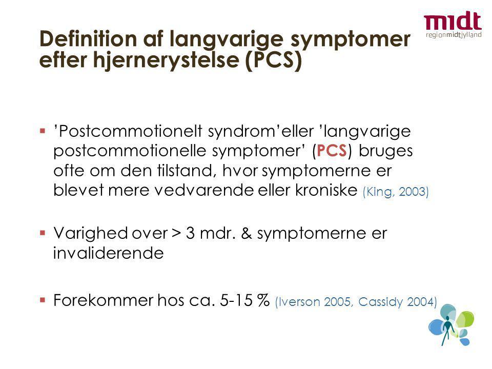 Definition af langvarige symptomer efter hjernerystelse (PCS)