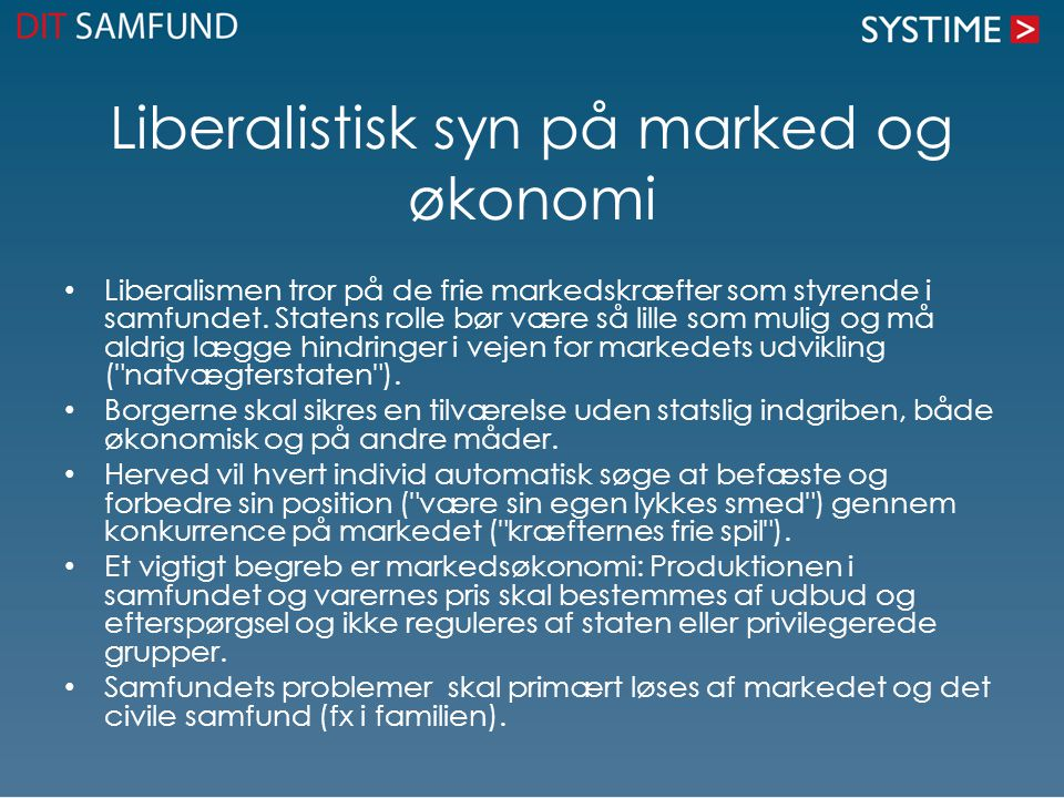 Liberalistisk syn på marked og økonomi