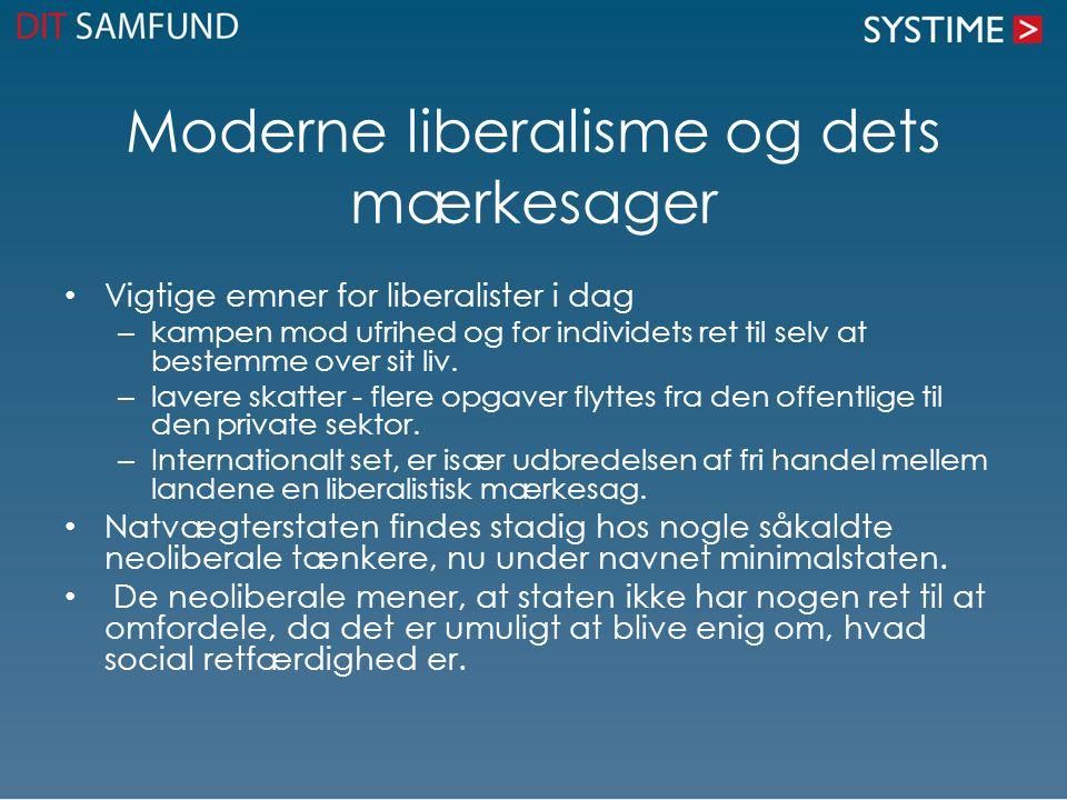 Moderne liberalisme og dets mærkesager