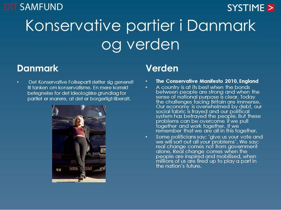 Konservative partier i Danmark og verden