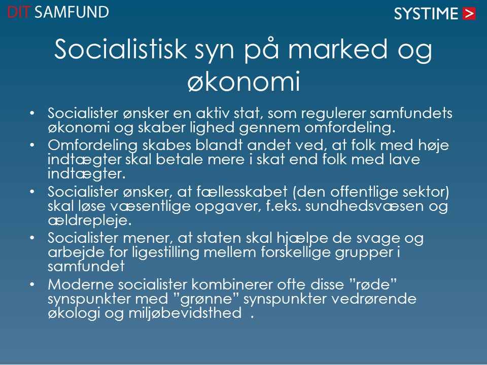 Socialistisk syn på marked og økonomi