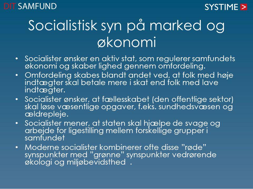 Socialistisk syn på marked og økonomi