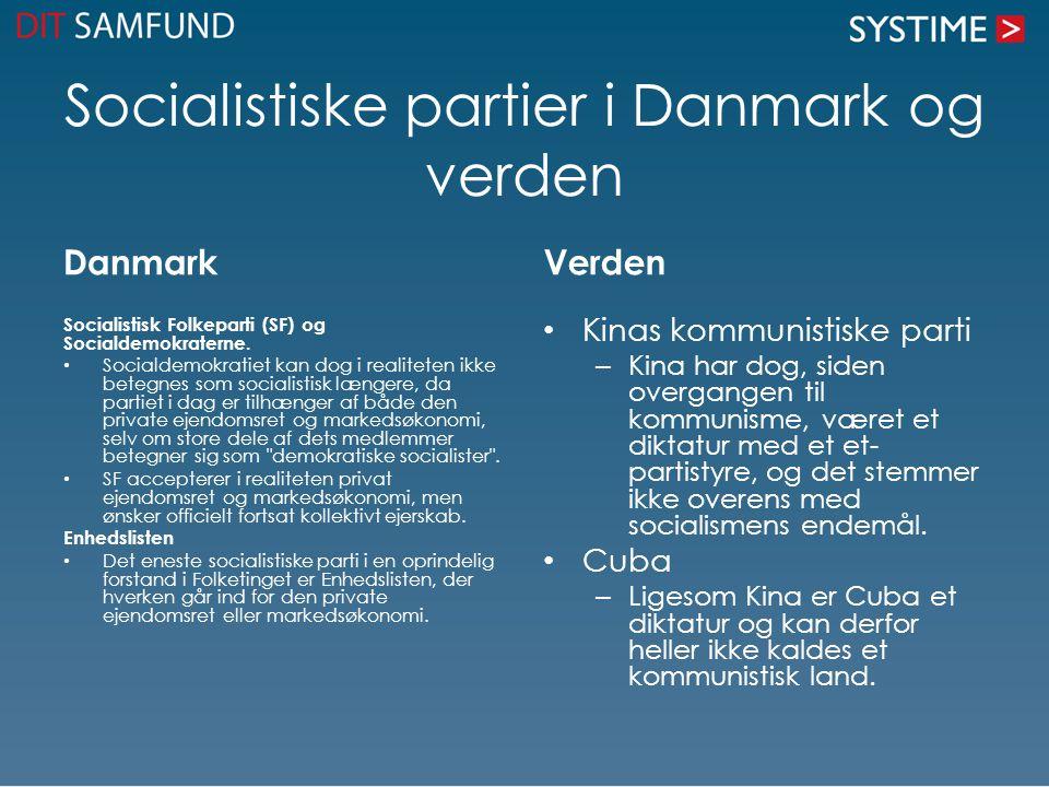 Socialistiske partier i Danmark og verden