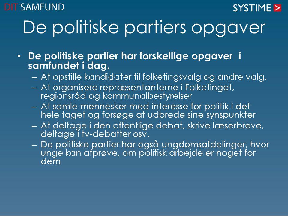 De politiske partiers opgaver