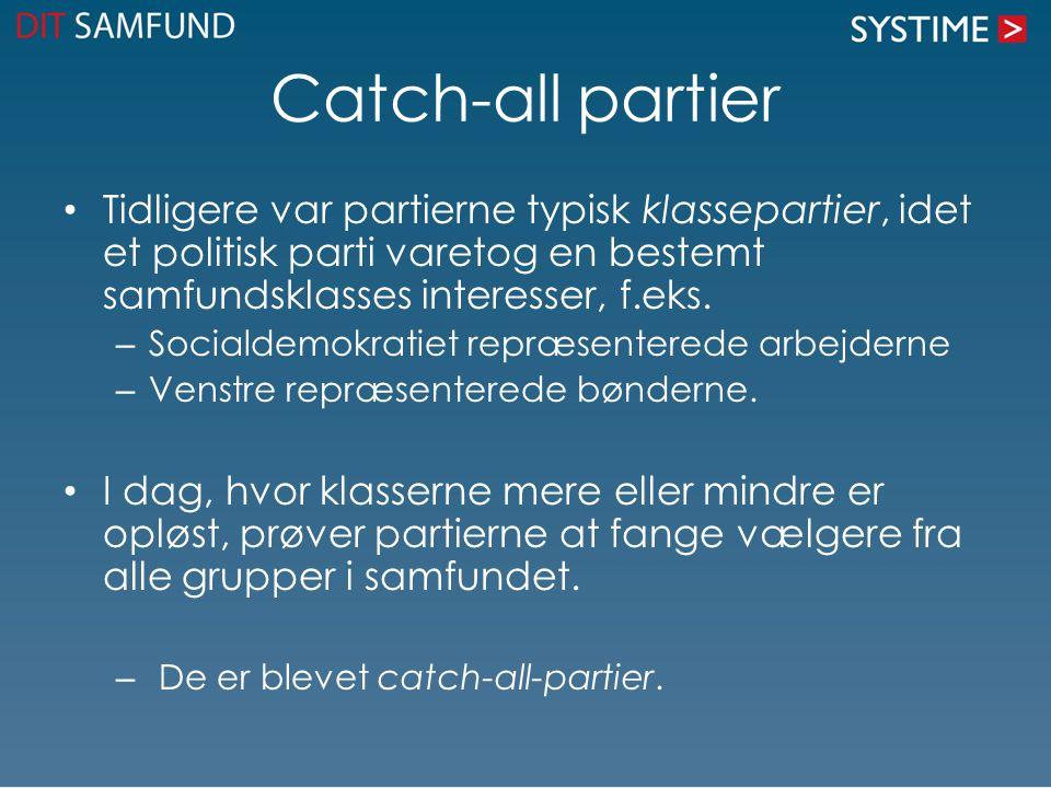Catch-all partier Tidligere var partierne typisk klassepartier, idet et politisk parti varetog en bestemt samfundsklasses interesser, f.eks.