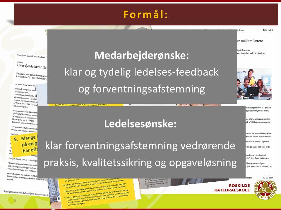 Baggrund: Formål: Medarbejderønske: klar og tydelig ledelses-feedback og forventningsafstemning.